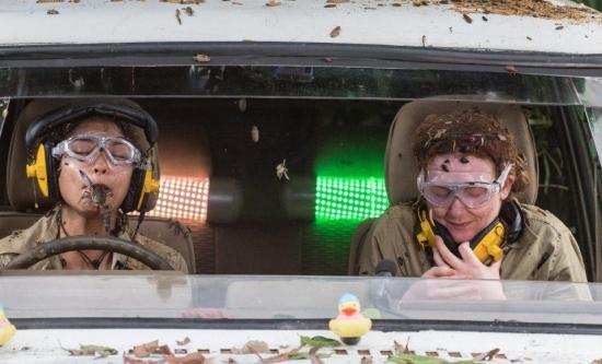 Vanessa White and Jennie McAlpine did the Car Cruel Caraoke task