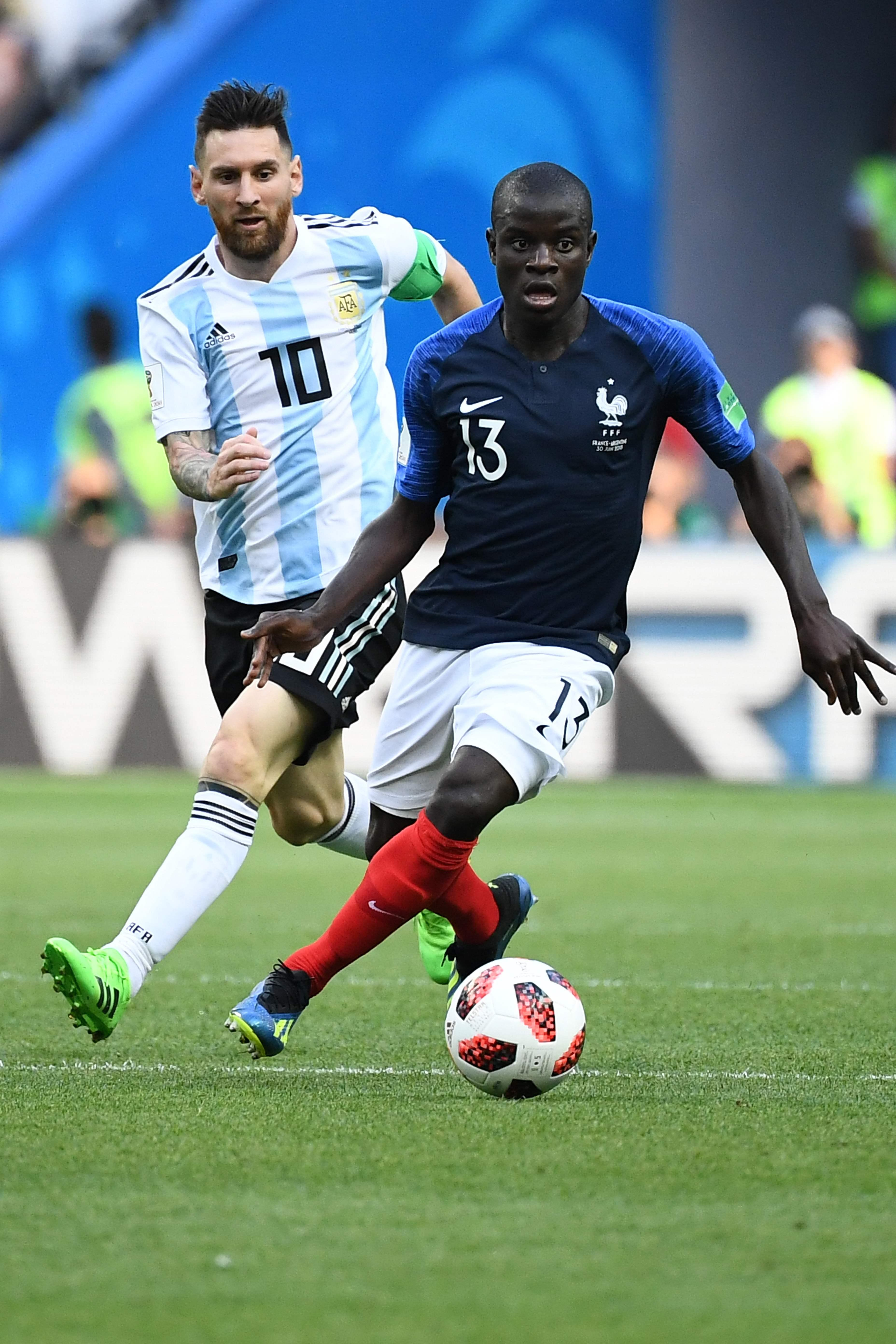 N'Golo Kante and Messi came up against each other at the World Cup