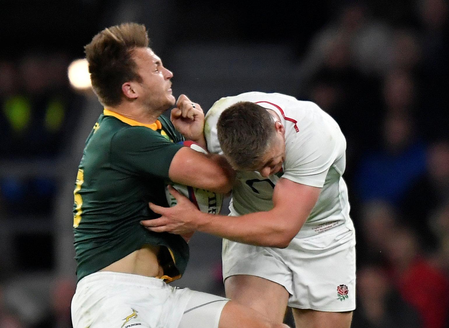 Match officials decided Farrell did attempt to wrap his arm in the tackle on Esterhuizen