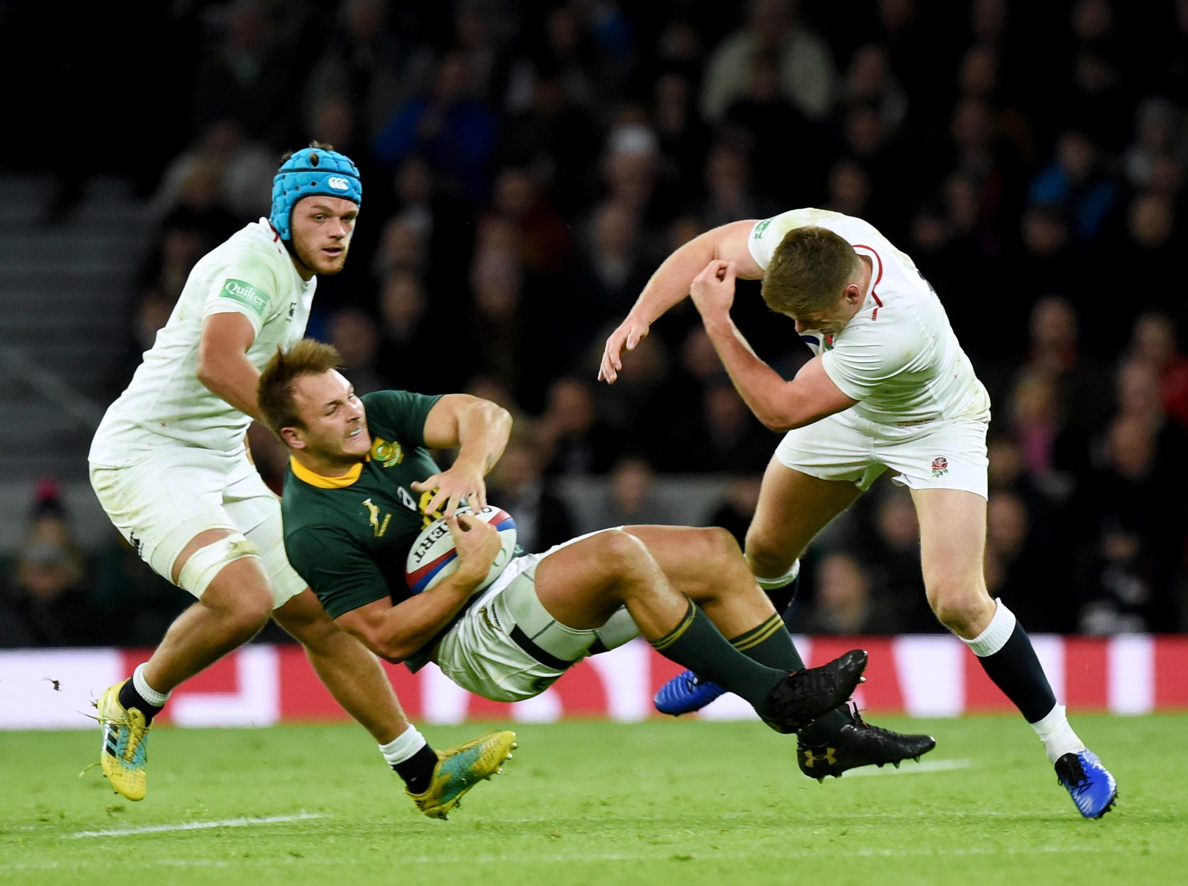 The huge hit knocked the South Africa star off his feet but Farrell has been cleared to face New Zealand