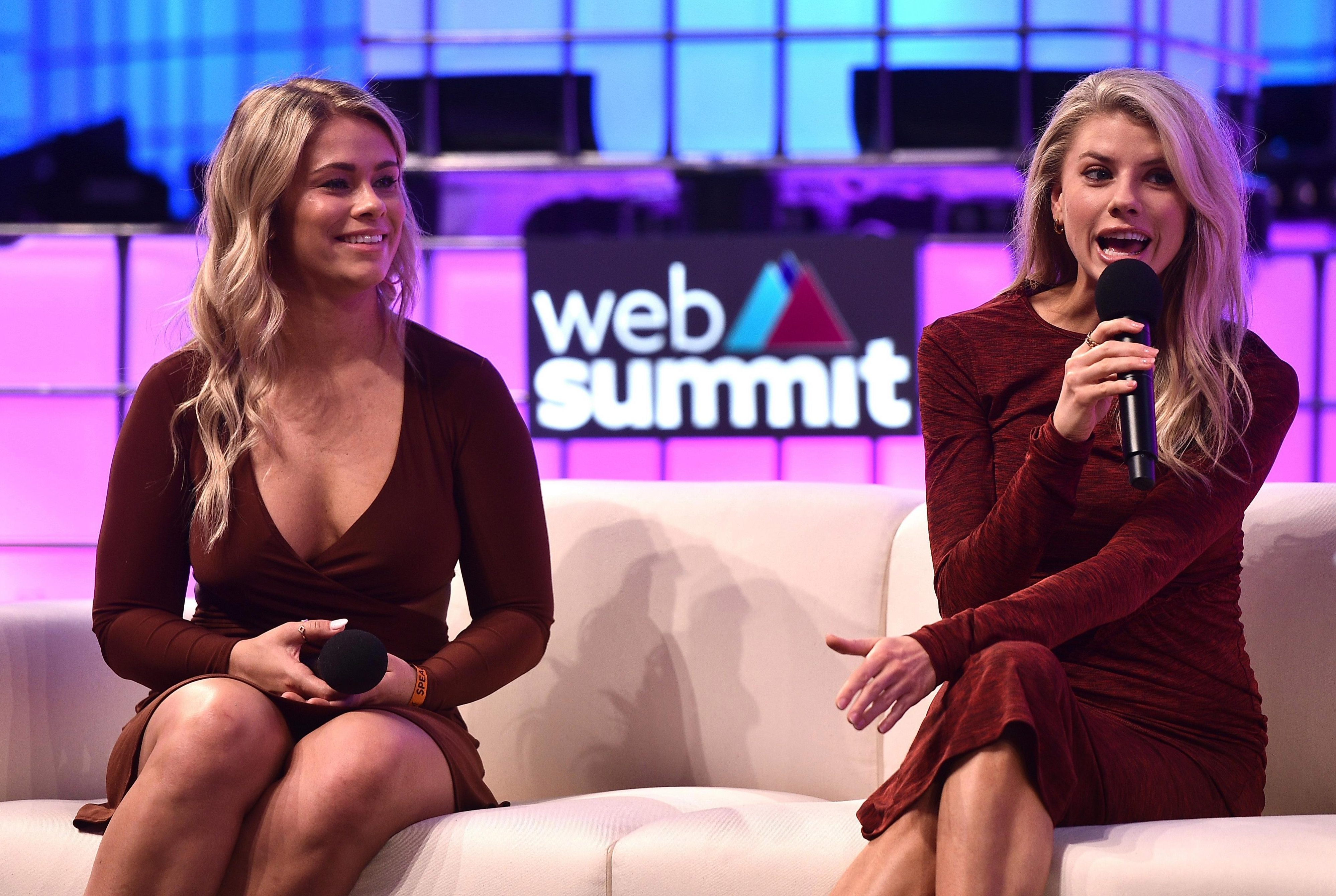 Paige VanZant speaks at a Web Summit in Lisbon with actress Charlotte McKinney