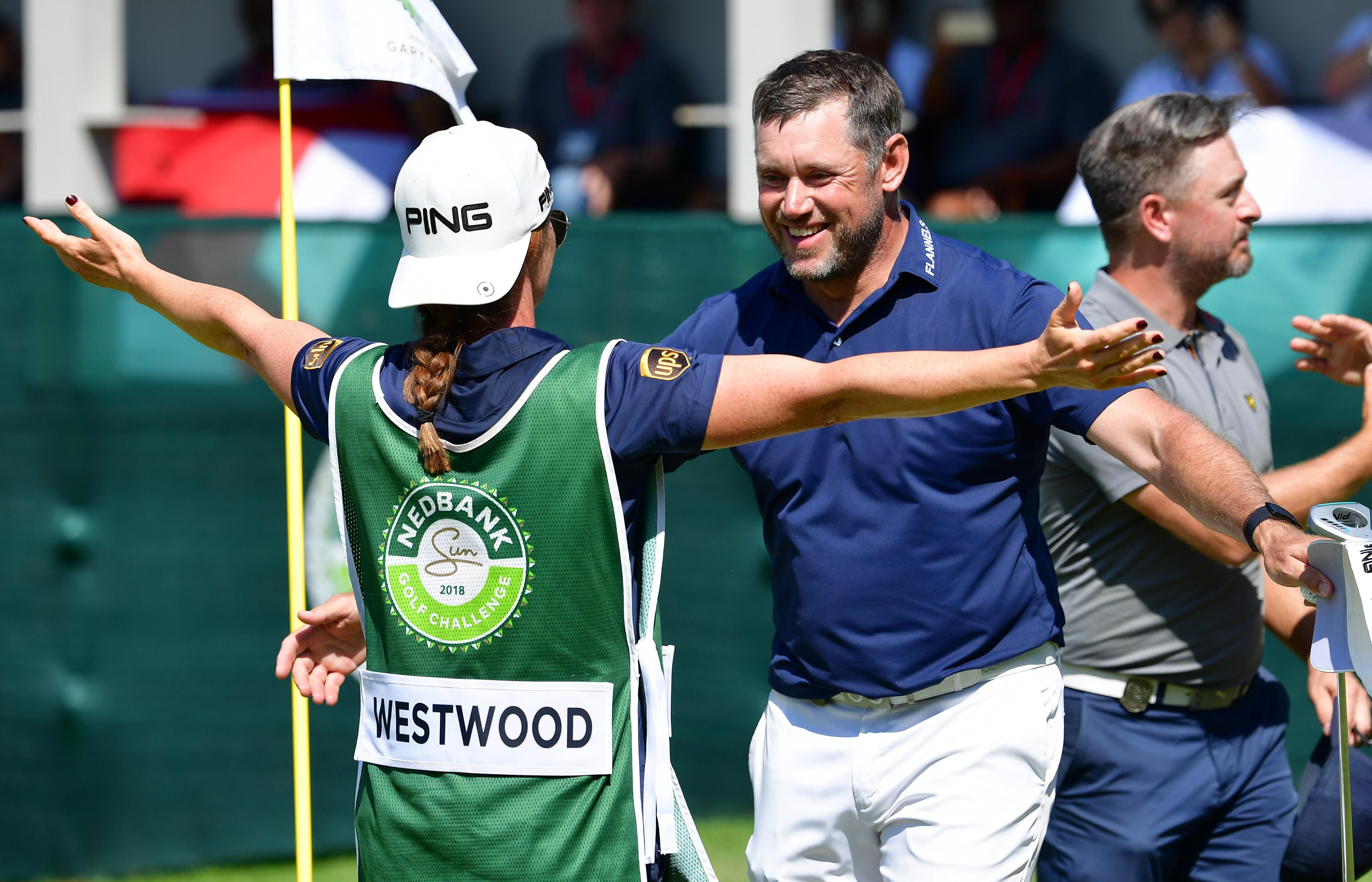 Lee Westwood and Helen Storey celebrate his win at last week's Nedbank