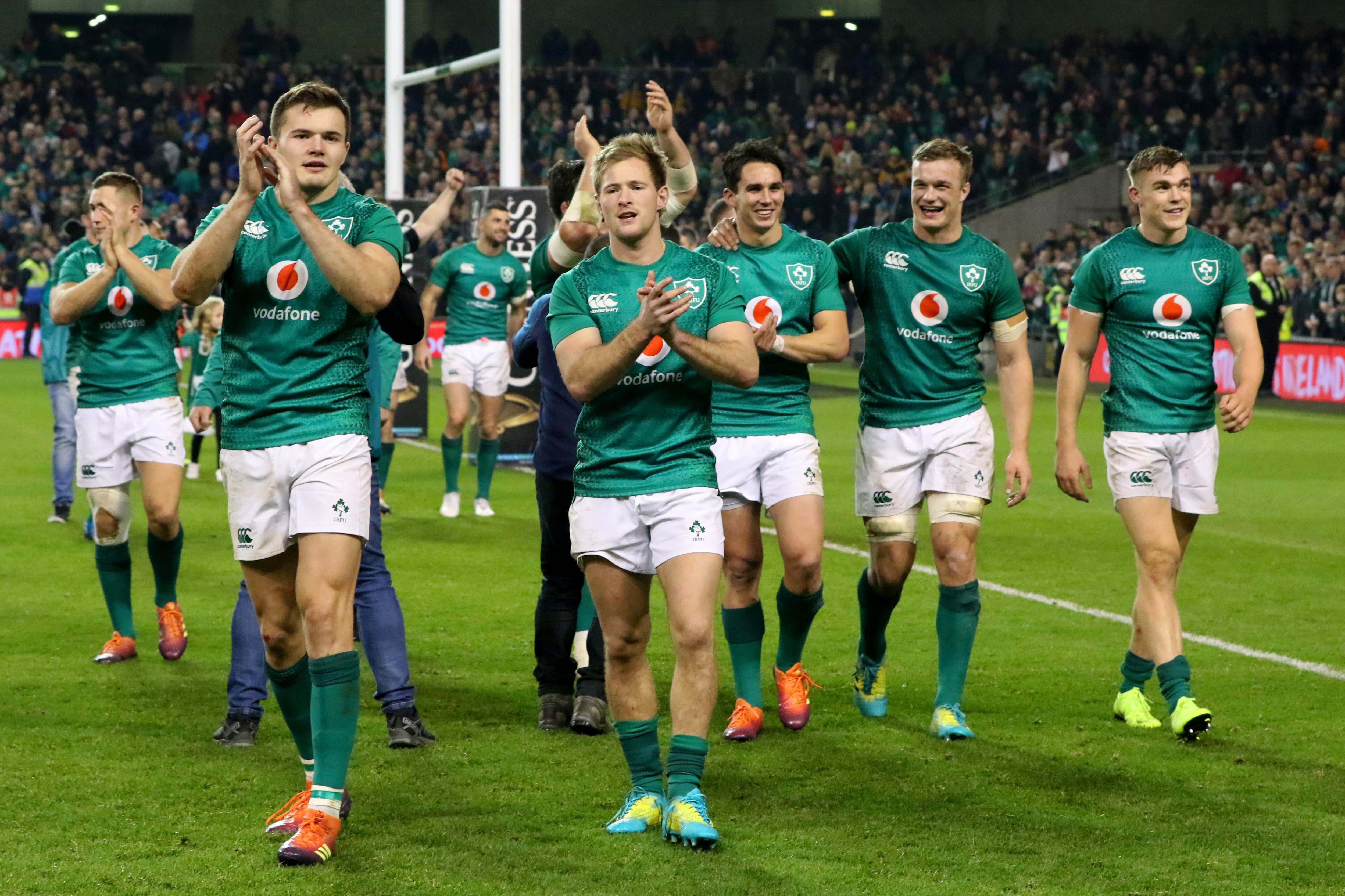 Ireland stars celebrate after the 16-19 win over the All Blacks