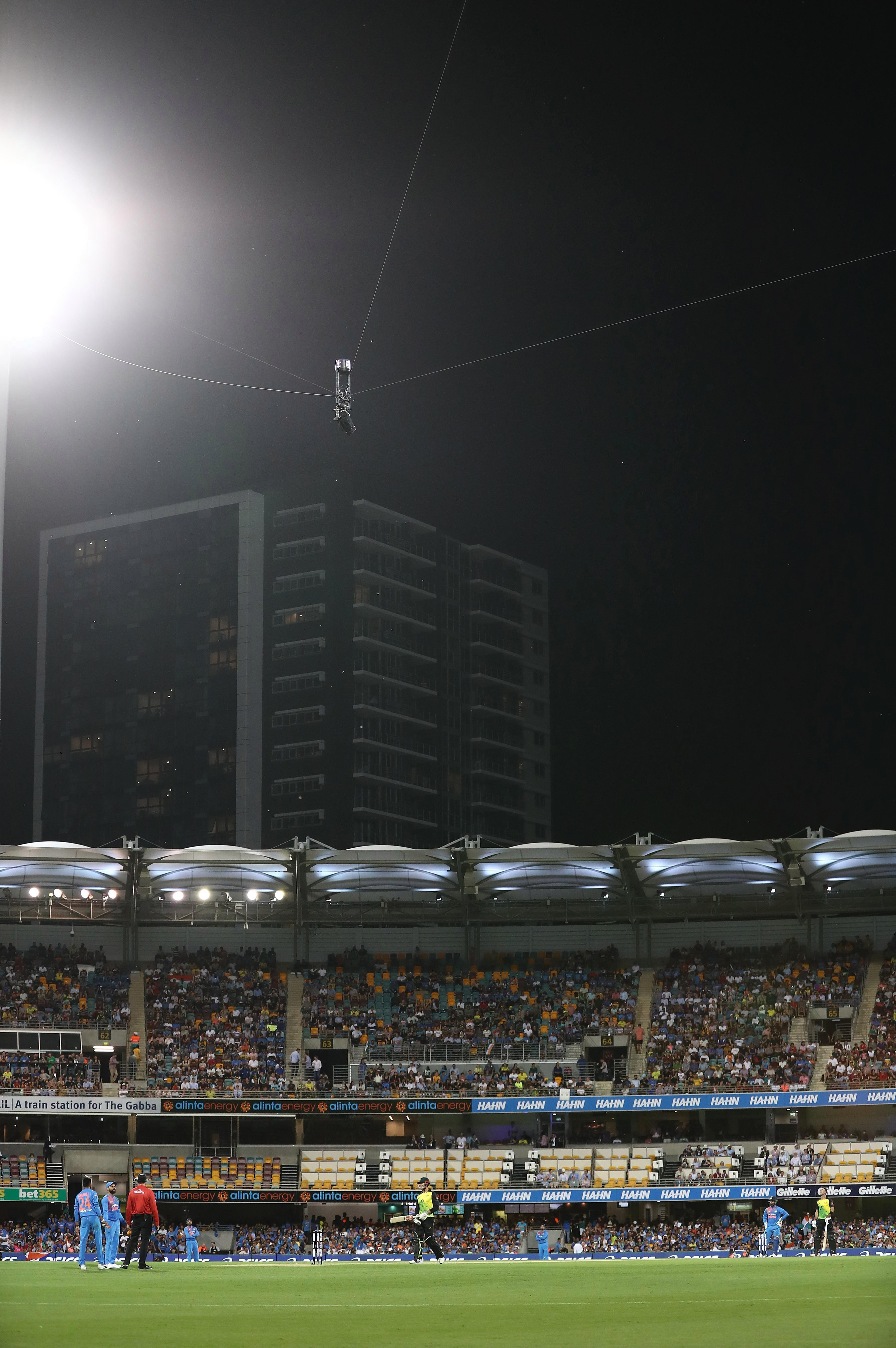 The Spider cam is suspended on a series of cables above the field