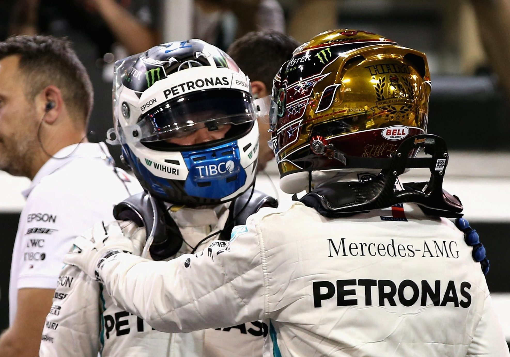 Hamilton's team-mate Valtteri Bottas will line up alongside the Brit at the front of the grid