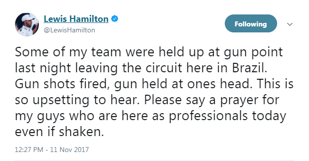 Hamilton tweeted this after the incident last year
