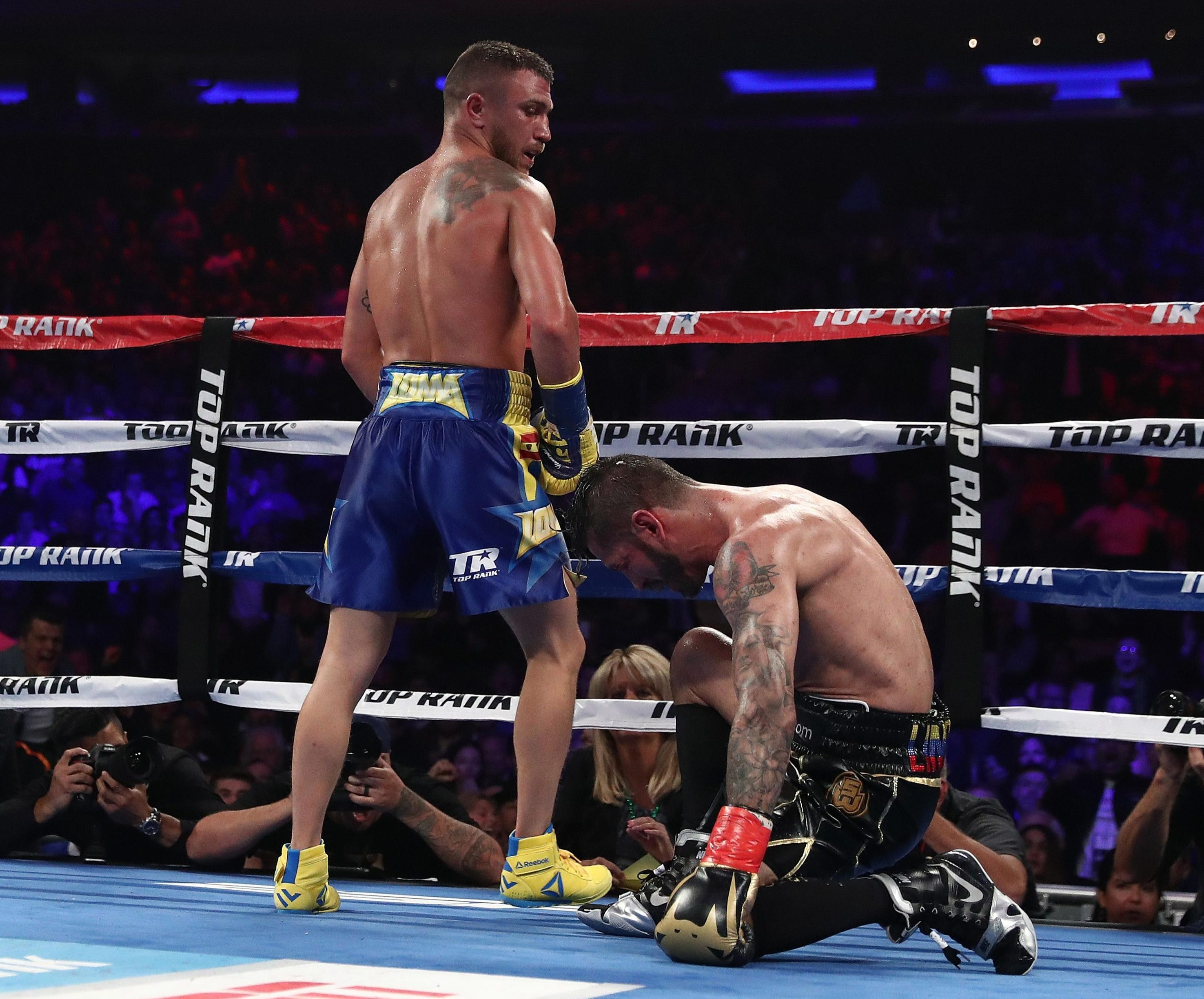 Lomachenko was dropped earlier in the fight but KOd Linares in the tenth round