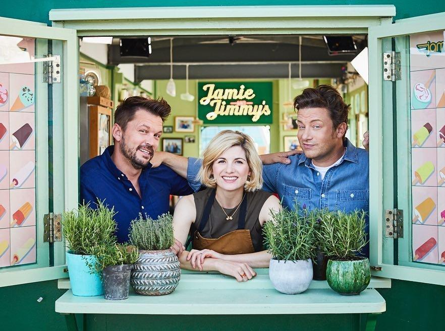 (L-R) Jimmy Doherty, Jodie Whittaker and Jamie Oliver