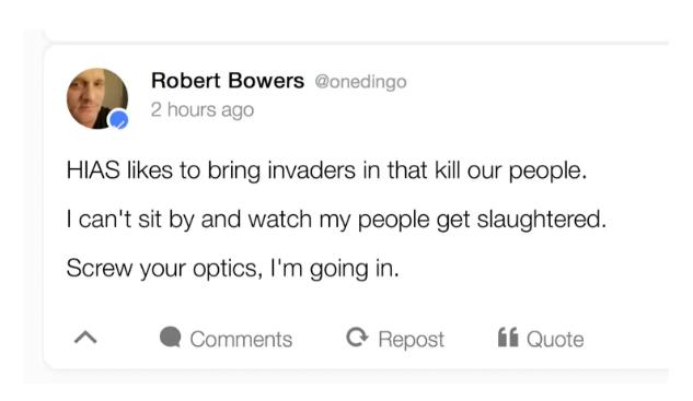 Mr Bowers' alleged final message on Gab before he is said to have carried out the massacre