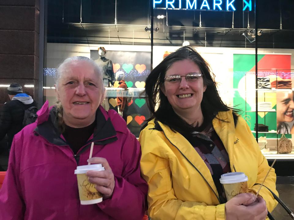 Mary Craig, left, and Tracey Sharvin were among an estimated 1,000 people who joined a queue to enter the new Primark store on Castle Street, Belfast