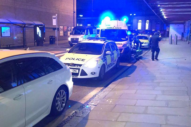 Three people were stabbed on the platform at Manchester Victoria railway station just before 9pm