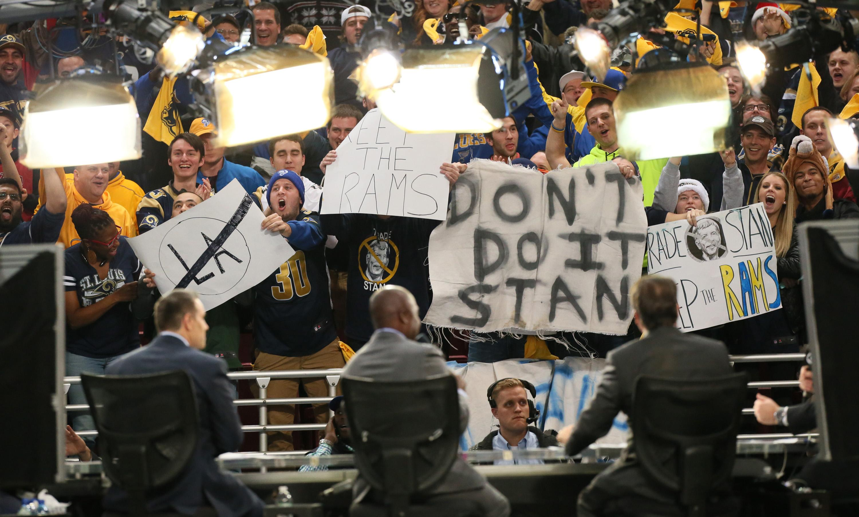 Fans in St Louis pleaded with Stan Kroenke not to take their Rams away