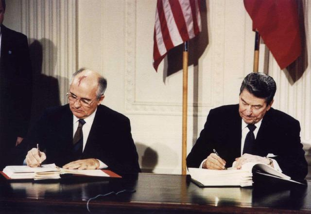 The INF was signed by US president Ronald Reagan and the then Soviet leader in 1987