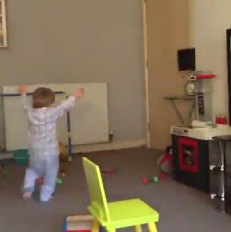 The young Gers fan did laps of the living room as he celebrated the goal