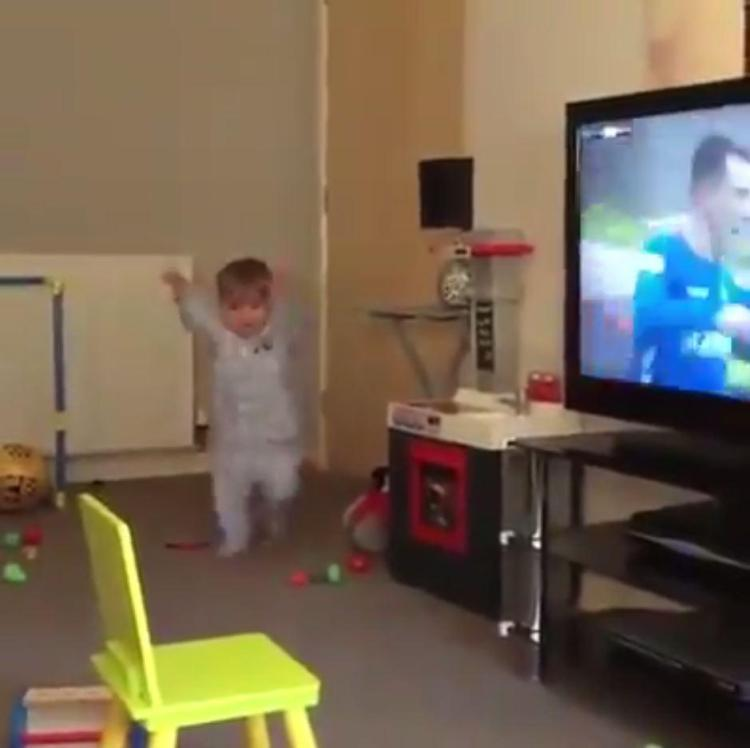 The young Rangers supporter was clearly ecstatic with the goal