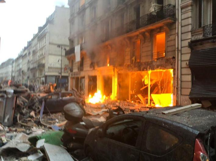 An explosion has rocked Paris this morning