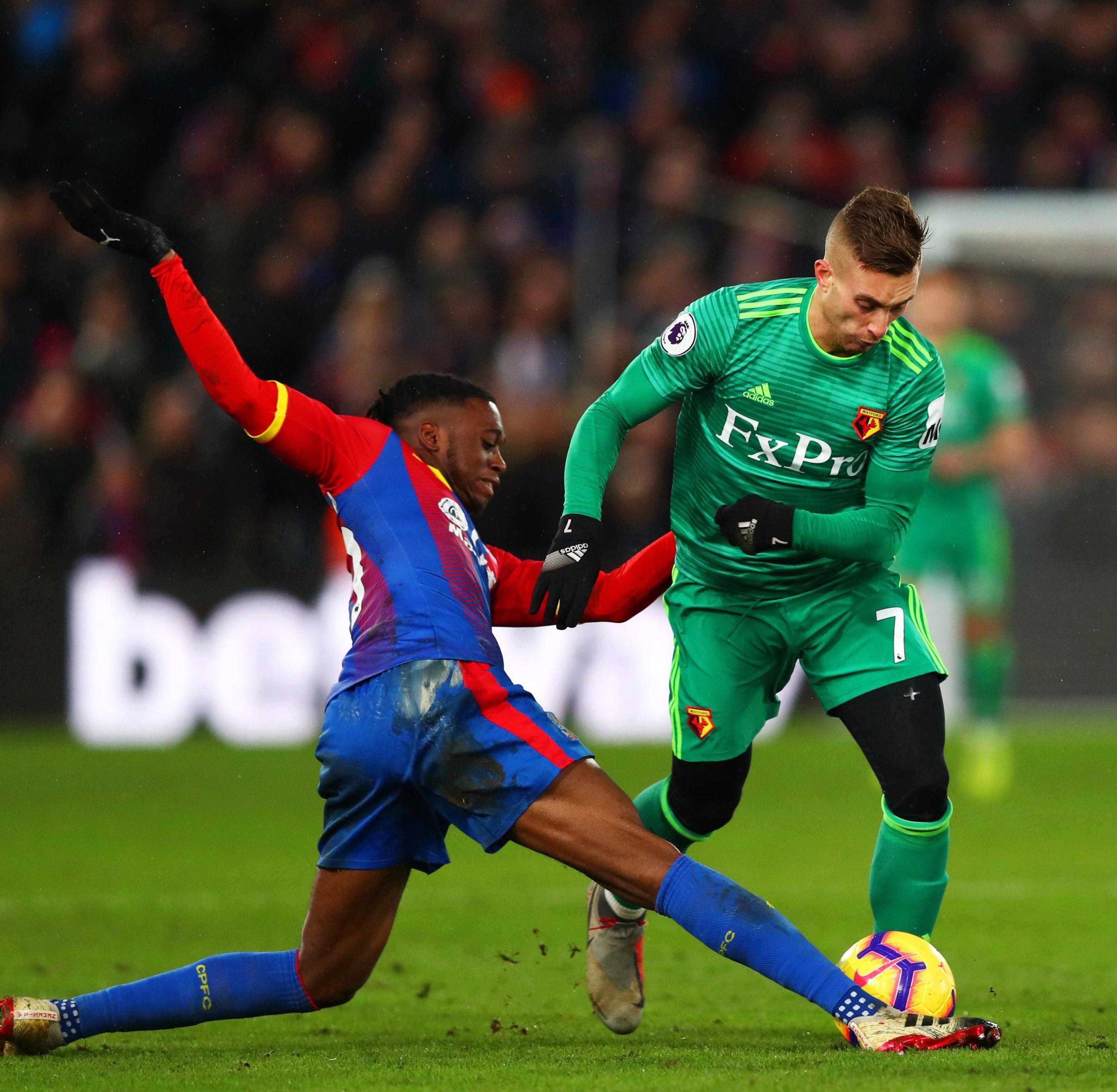 Aaron Wan-Bissaka tackles Gerard Deulofeu during Crystal Palace's loss to Watford