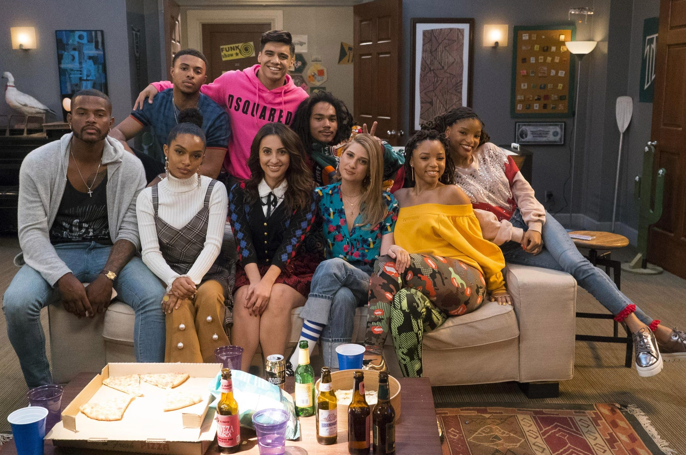 Chloe X Halle, pictured here on the right in a cast shot of Grownish, will perform 'America the beautiful' at the Super Bowl