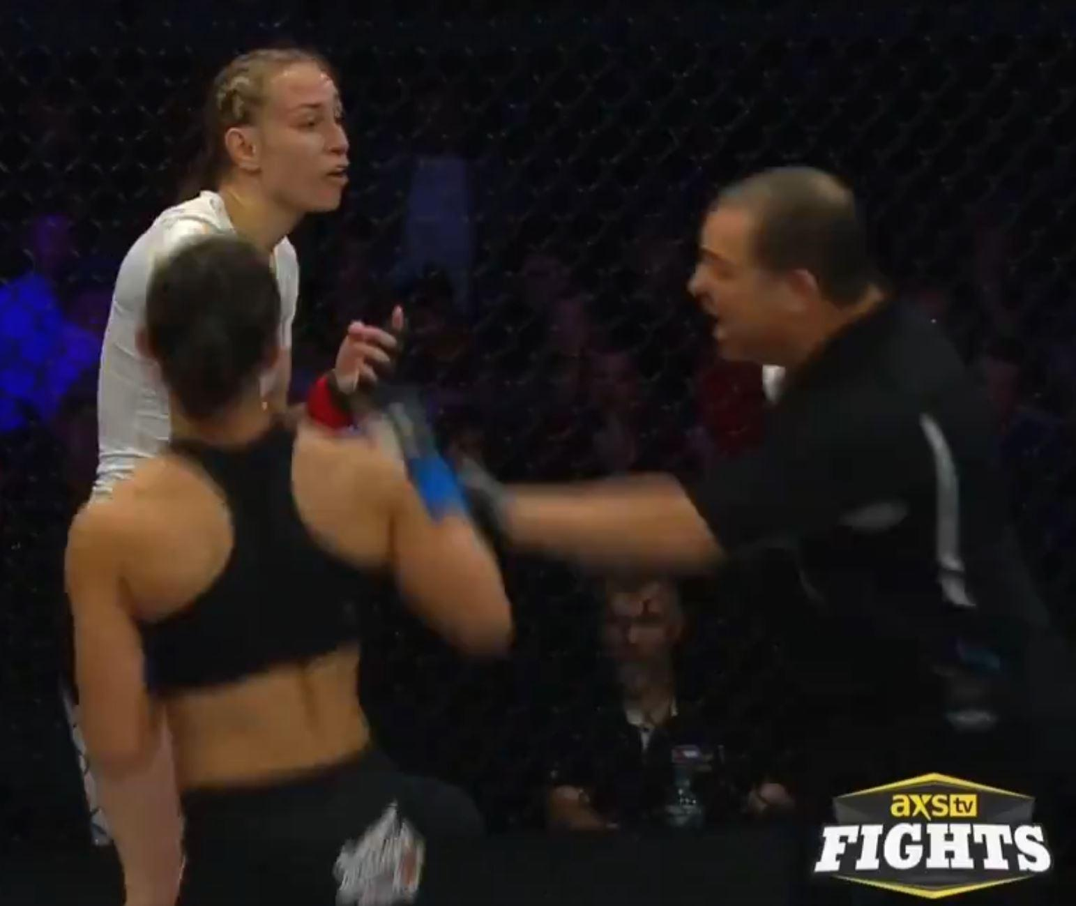 Pauline Macias came in for another attack after the ref waved away the protests