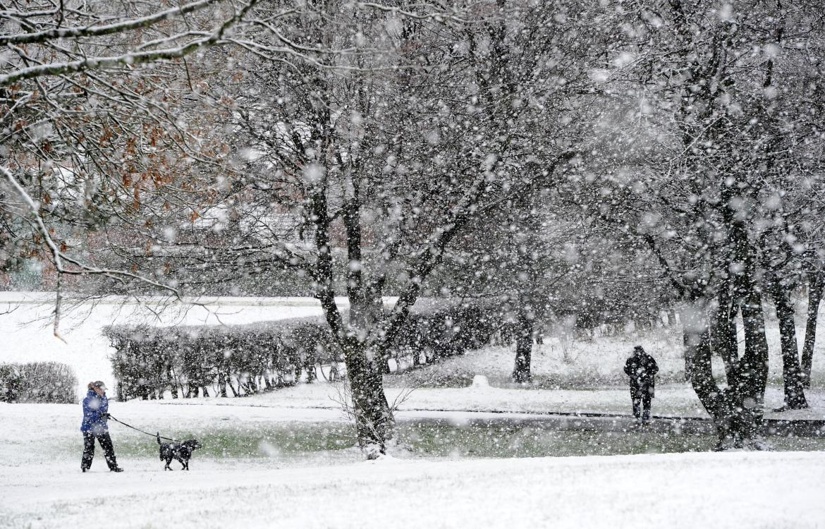 UK weather: Heavy snow showers in the town of Haslingden in East Lancashire earlier this week