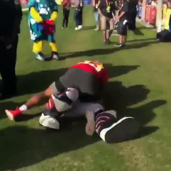 Not everyone saw the funny side of the painful-looking tackle