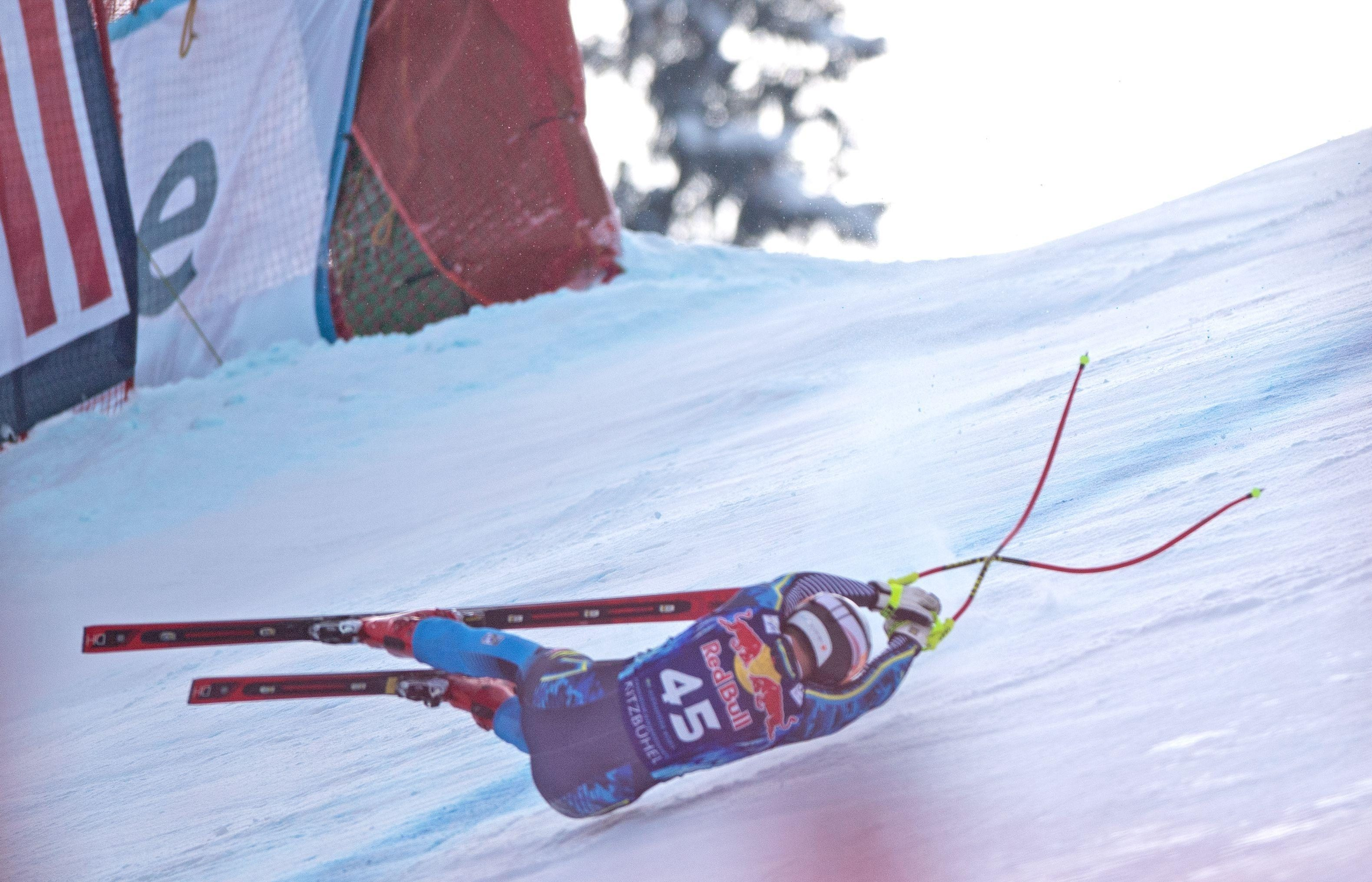 The Swede was participating in the classic downhill when he lost control on a turn