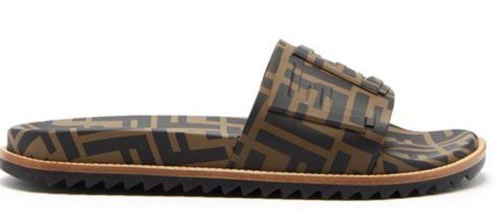 Fendi branded slides are priced at £450