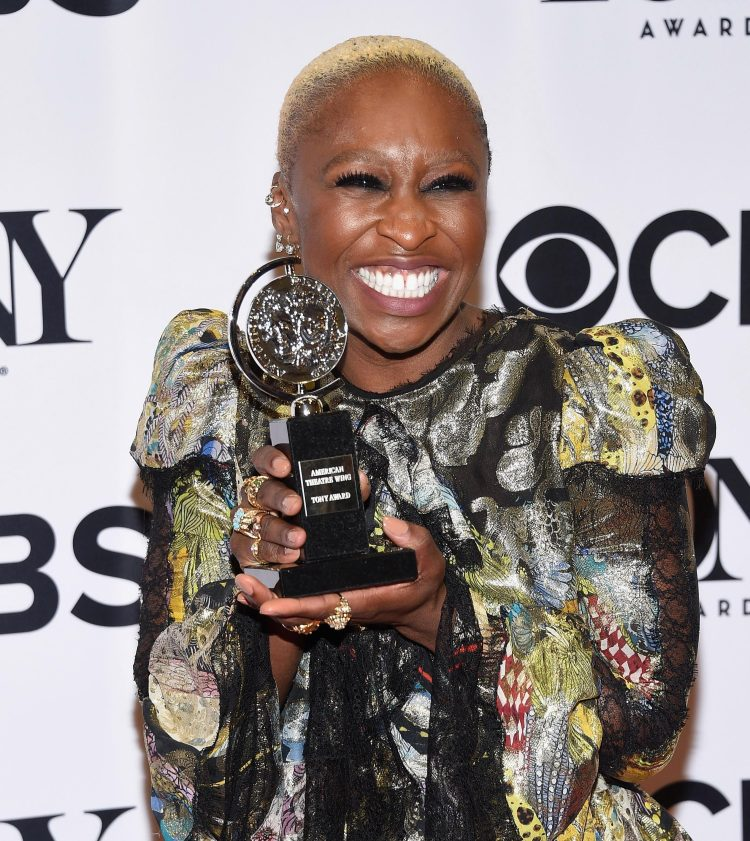 Cynthia Erivo shows off her Tony Award in 2016 for her role in the musical The Colour Purple