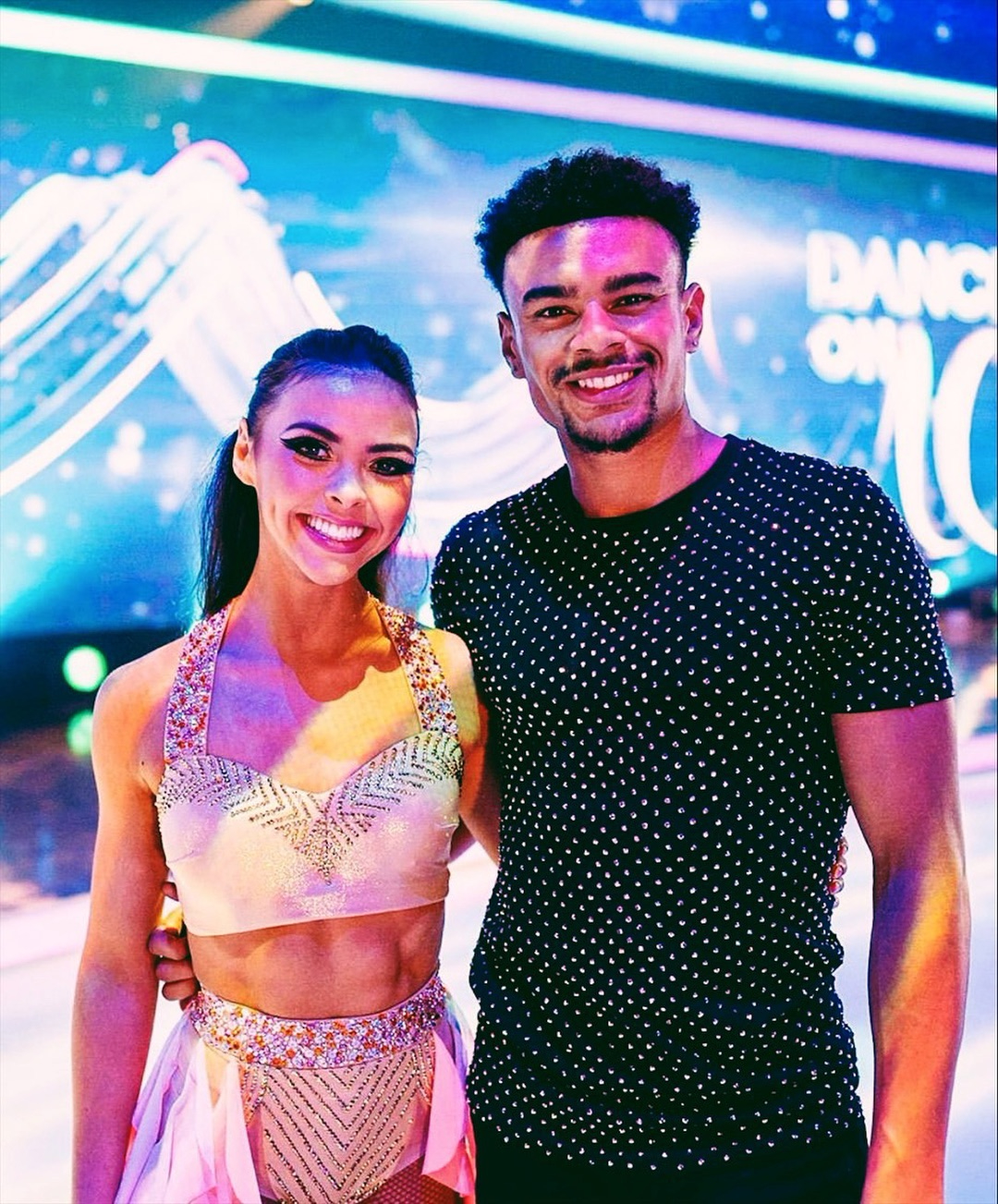 Vanessa Bauer, left, is partnered with Wes Nelson, right, on Dancing On Ice