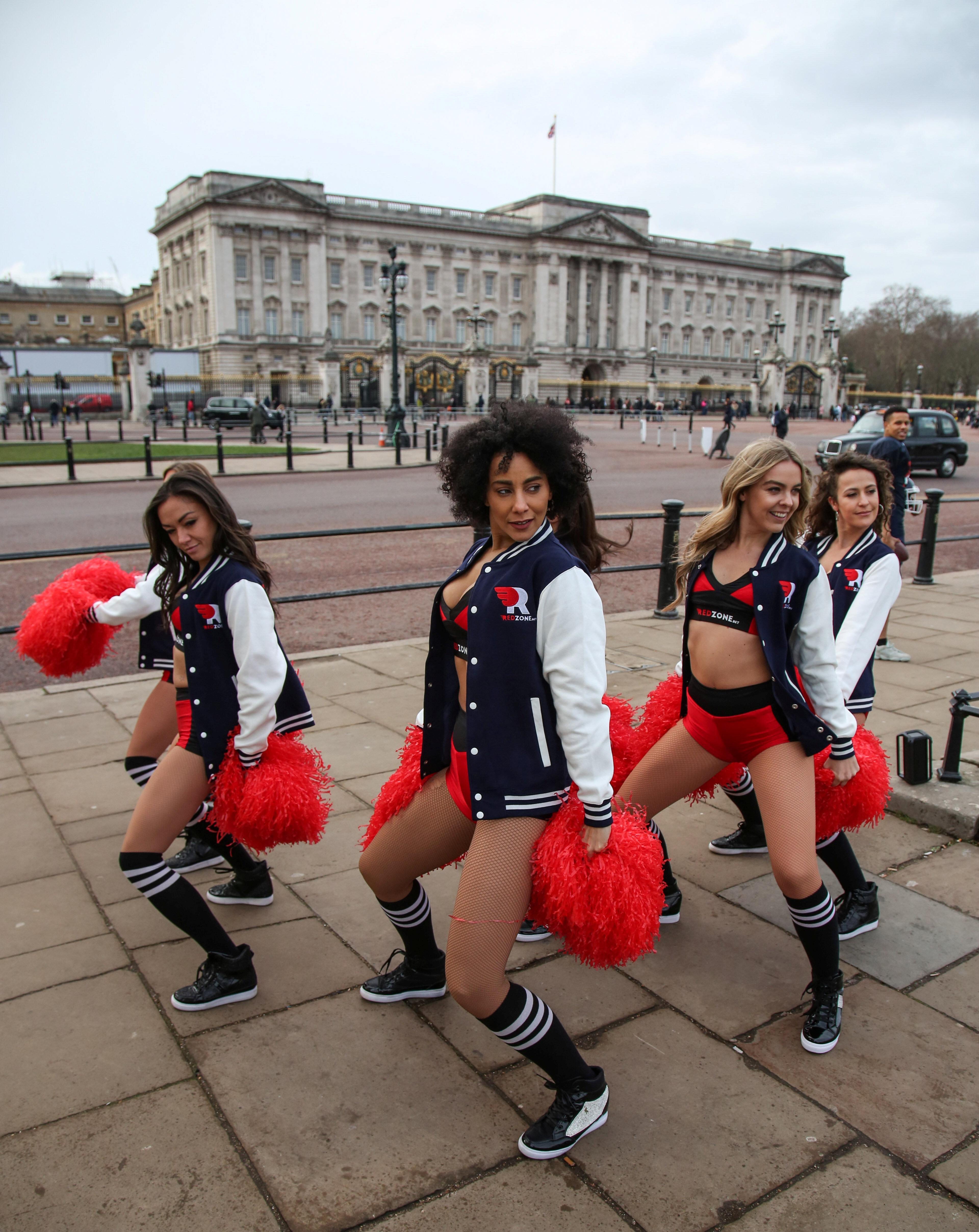 Cheerleaders promote Sunday's Super Bowl in London