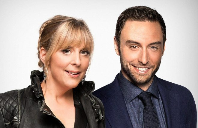 Mel Giedroyc, left and Mans Zelmerlow, right will present Eurovision: You Decide
