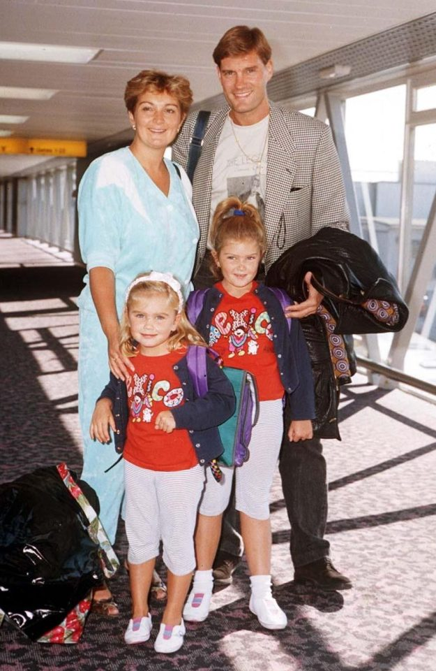 Glenn Hoddle with his wife and their two daughters Zara and Zoe in 1990