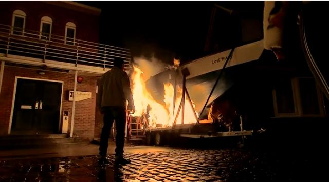 Peter's boat Lost Buoy is on fire