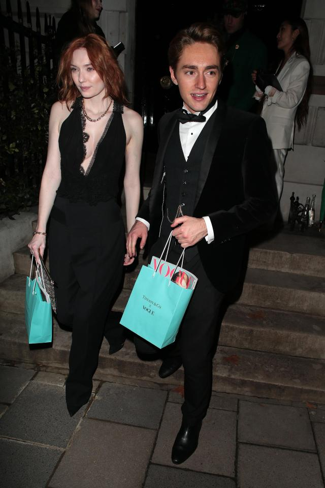 Poldark star Eleanor Tomlinson and her brother Ross Tomlinson at the Baftas: Vogue x Tiffany Fashion & Film afterparty