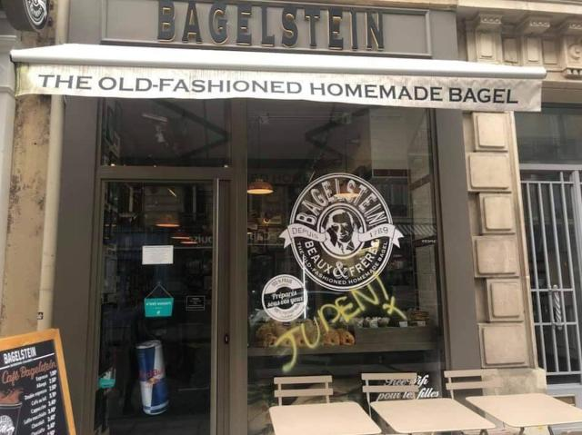 The anti-Semitic graffiti was sprayed onto the bagel shop's window