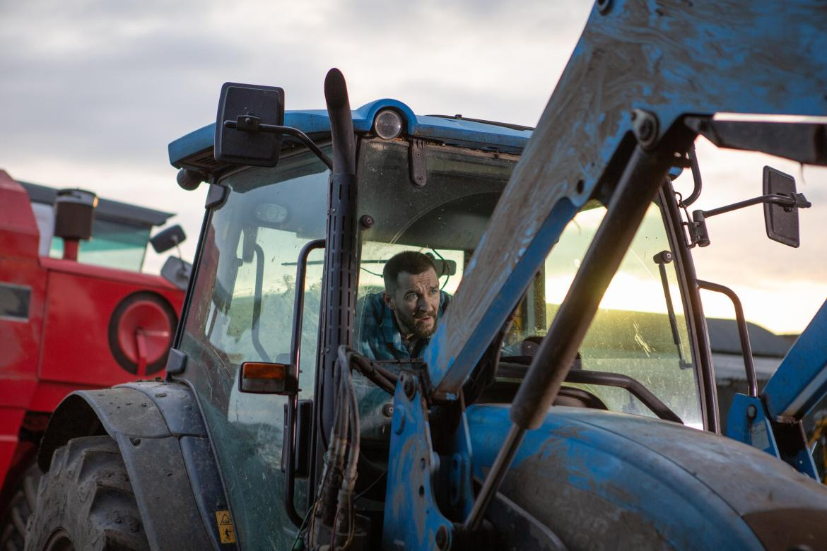 Pete is behind the wheel of the tractor when the breaks fail