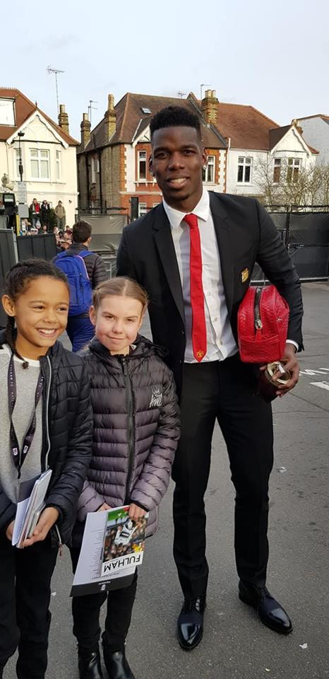 The girls managed to get a picture with World Cup winner Paul Pogba after his brilliant performance