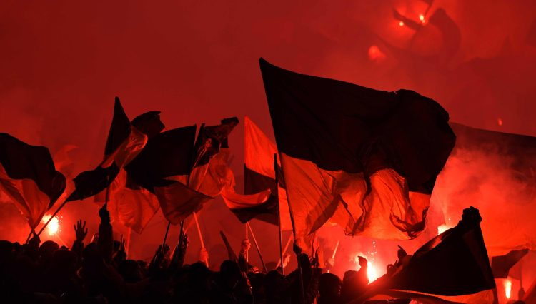 This was the scene inside the stands as Dynamo Dresden showed their support for their heroes