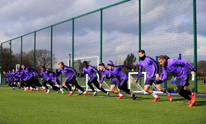 Spurs captain Kane joined in with the sprints, showing his rapid recovery from anankle injury