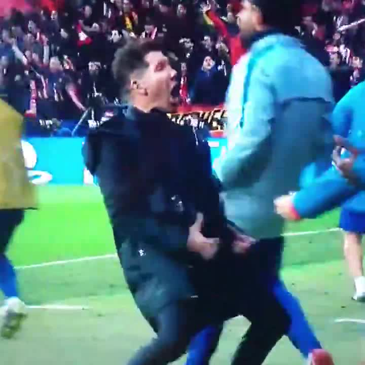 Diego Simeone showed off the celebration after Atletico went 1-0 up