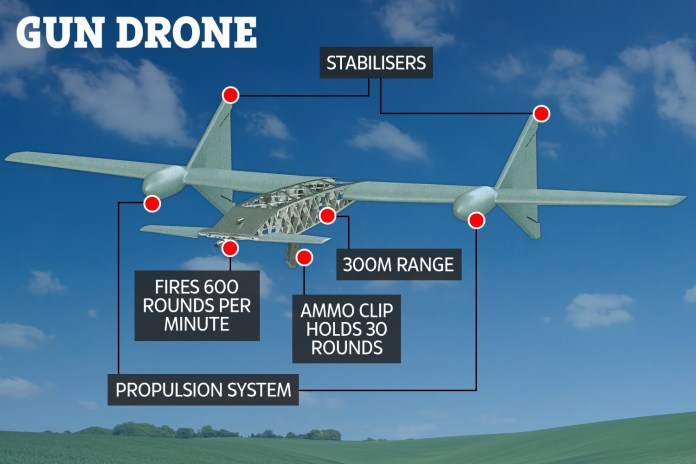 Drone with AK-47 labelled image