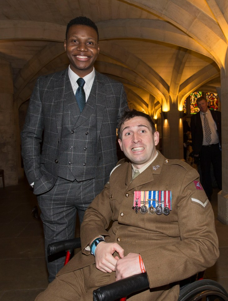 War heroes Ben McBean and Ben Parkinson at The Sun Millies Awards at the Guildhall, London, in 2016