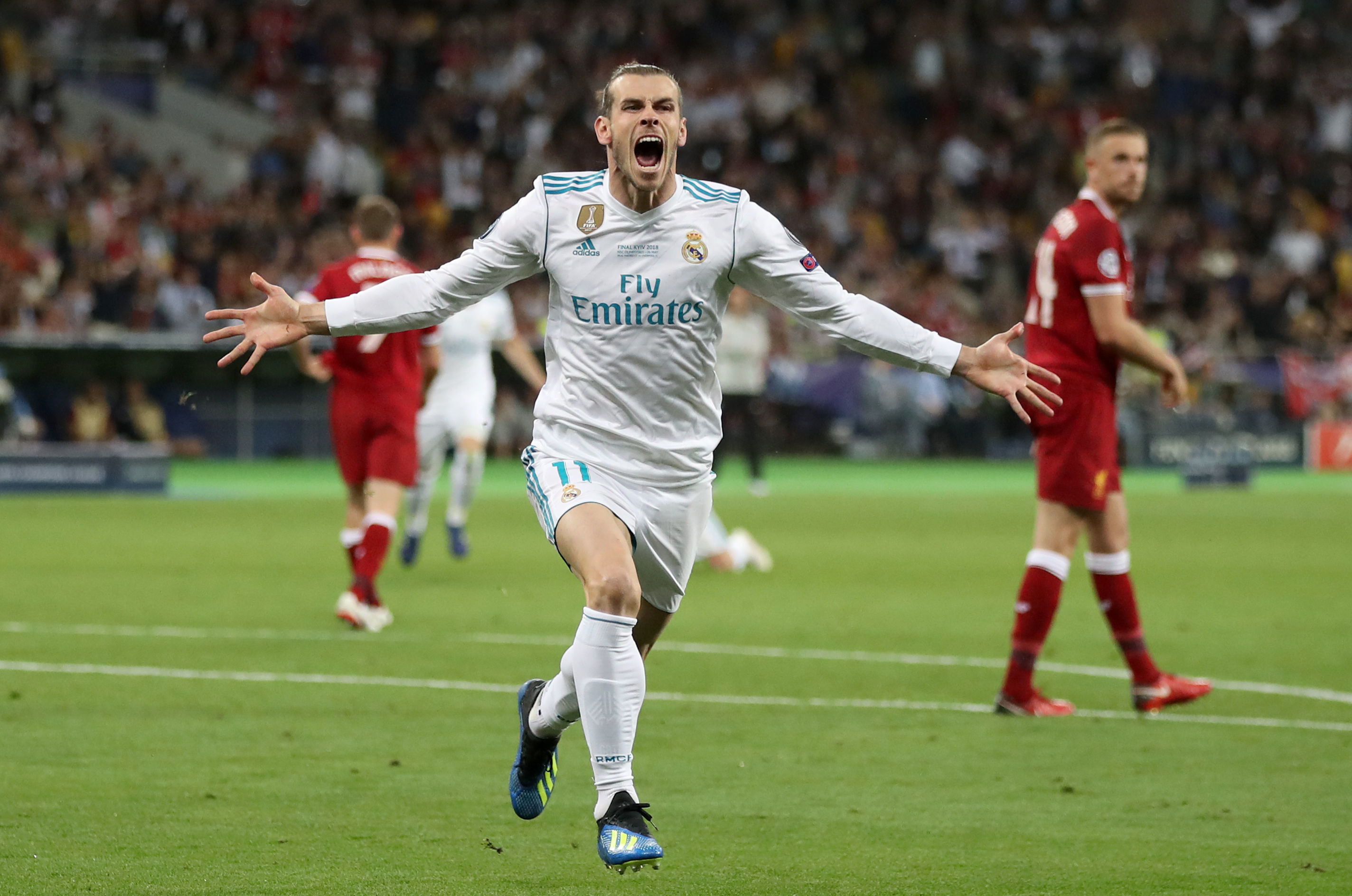 Bale in happier times for Madrid - celebrating his wonder goal against Liverpool in the 2018 Champions League final