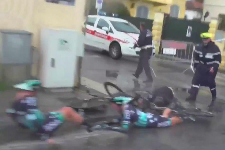 Oscar Gatto and Rafal Majka were sent tumbling off their bikes