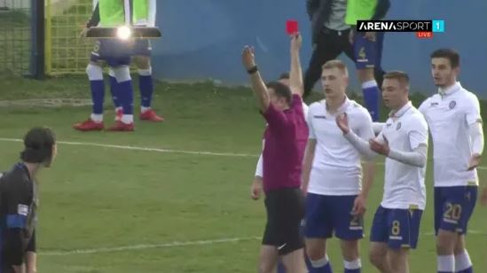 Referee Ivan Vuckovic did not see the funny side and sent him off for the move