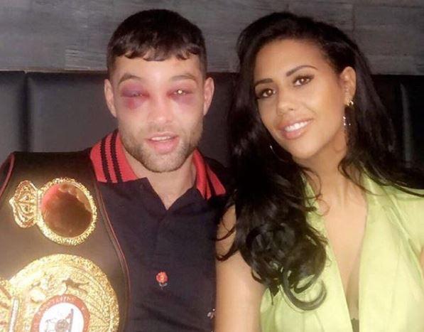 Fitzgerald with WBA international super welterweight belt and ex-partner Jaz Jaz