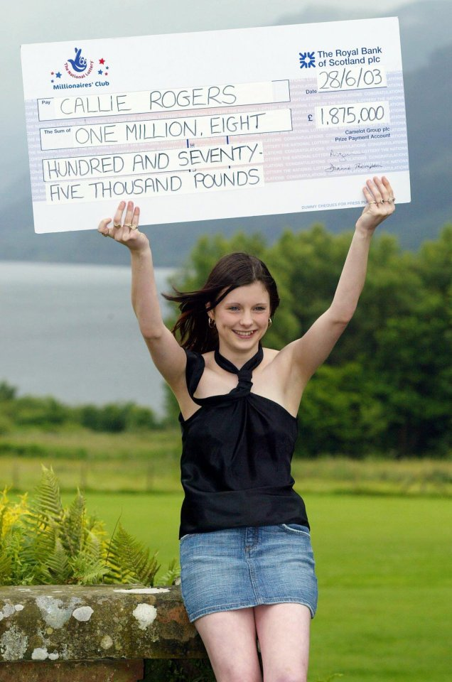 Callie Rogers was the youngest lottery winner when she won £1.9million in 2003 at 16. She called it a 'curse' and 13 years later had £2,000 left. She said: 'It was too much for someone so young.'