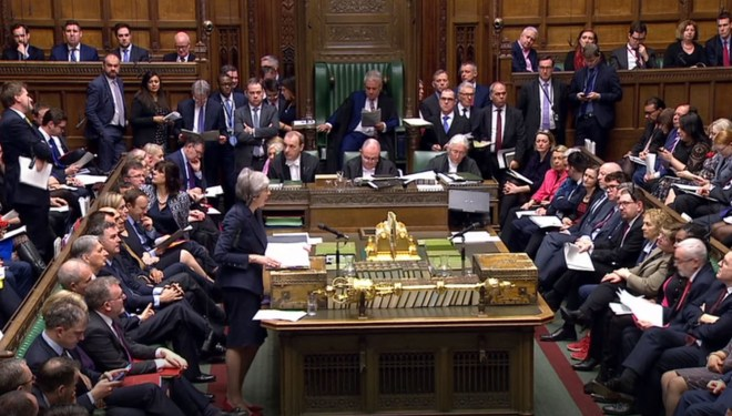 Theresa May speaks during PMQs, days before her vote was rejected for a third time in March 2019