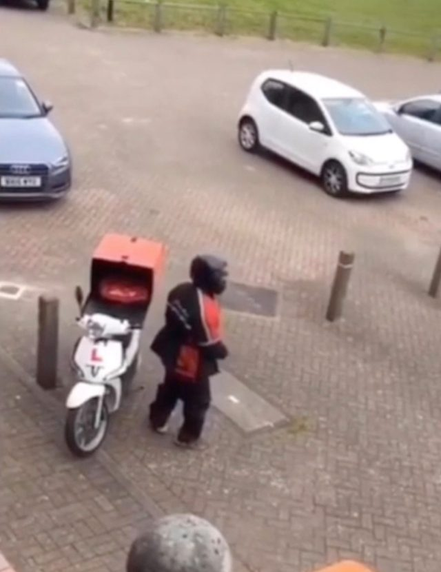 Disgusting Moment Pizza Hut Driver Urinates Next To