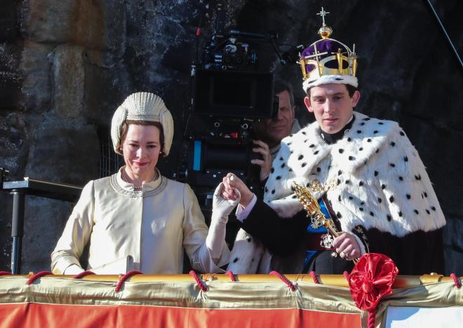 Olivia Colman and Josh O'Connor in The Crown